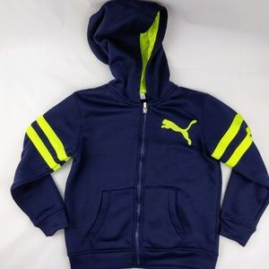 Puma Hoodie Boys size 6 Youth Navy Blue Neon Yello